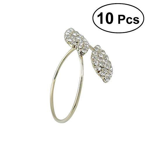 KathShop 10pcs Rhinestone Napkin Ring Holders Pack of 10 Handmade Serviette Buckles for Wedding and Dinner Party