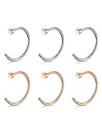Vcmart Fake Nose Rings Hoop-20G 18G 16G Nose Hoop Ring 6mm/8mm/10mm/12mm Nose Ring Piercing Lip Septum Ring Earrring Faux Body Piercing Jewelry 6pcs