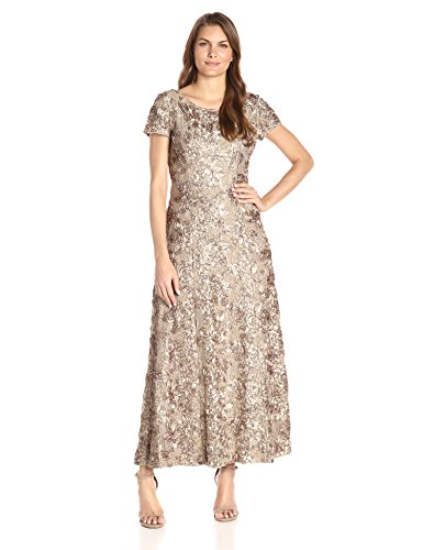 - Alex Evenings Women's Long A-Line Rosette Dress with Short Sleeves and Sequin Detail, Champagne, 10