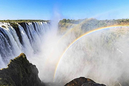 Sim,1000 Pieces Wood Jigsaw Puzzle, Perfect Choice for the Puzzle Lover 29.5 X 19.6 inch Nobleness Present in Box Present-Wrap : Waterfalls Africa Rainbow - Waterfall Rainbow