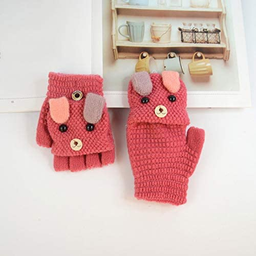 MoGist Baby Gestrickte Handschuhe Nette Karikatur Stereo B/ärenform Halber F/ünf Finger Flip Handschuhe Winter Warme Kinderhandschuhe Orange