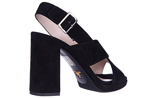 Prada sandales femme à talon en daim noir