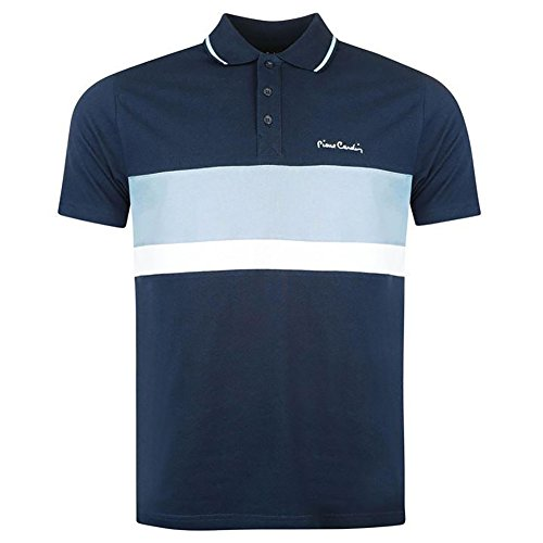 Pierre Cardin New Season Mens 100% Cotton Cut and Sew Stripe Panel Tipping Collar Pique Polo Shirt (Small, Navy/Light Blue)
