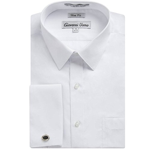 (Gentlemens Collection Men's 1921 Slim Fit French Cuff Dress Shirt ,White,16.5