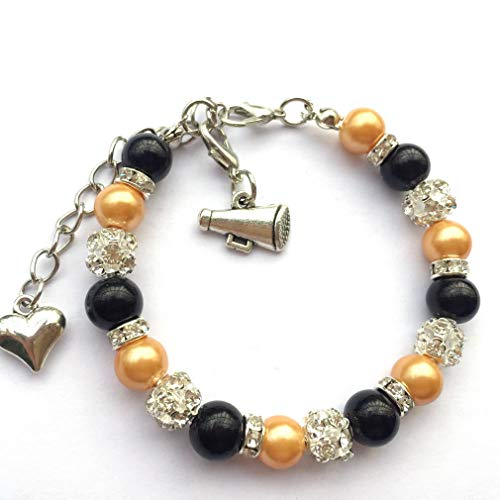 DOLON 8mm Faux Pearl Cheer Bracelet Sports Cheering Cheerleader Megaphone Jewelry Black with Gold