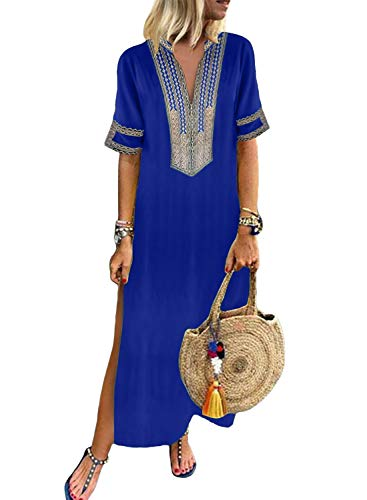 - Dokotoo Womens Dress Loose Boho Summer Casual Dress Half Short Sleeve V Neck Fashion Shift Solid Crochet Embroidered Slit Maxi Long Dress Blue Medium