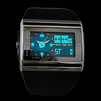 ArMordy(TM) New OHSEN Top Brand Digital Blue Light LED Date Rubber Sport Waterproof Mens Analog Quartz Wrist Watch High quanlity
