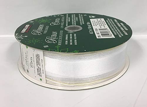 Kirkland Wire Edged Ribbon White Striped 50 Yards 1.5 inches