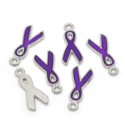 (ZARABE Enamel Purple Ribbon Awareness Charms Pendants)