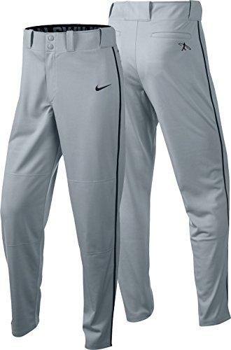 Nike Men's Swingman Dri-FIT Piped Baseball Pants (Grey/Black, Large) by NIKE