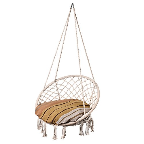 Cheap Lazy Daze Hammocks Handwoven Cotton Rope Hammock Chair Macrame Swing with Cushion and Wall/Ceiling Mount Set, 300 Pounds Capacity, for Indoor, Garden, Patio, Yard (Mother Earth Striped)