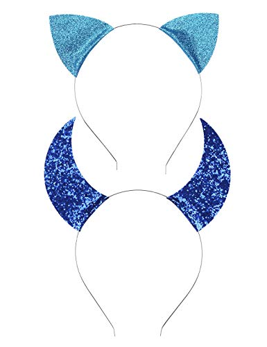 Uniqhia Halloween Headband Devil Horns and Felina Glitter Cat Ears Headbands Kitty Headbands -