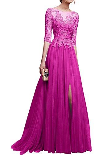 La Abschlussballkleider mit Neu Braut Rosa Abendkleider Dunkel Lang Spitze Marie Langarm Pink 2017 Ballkleider rqrSP