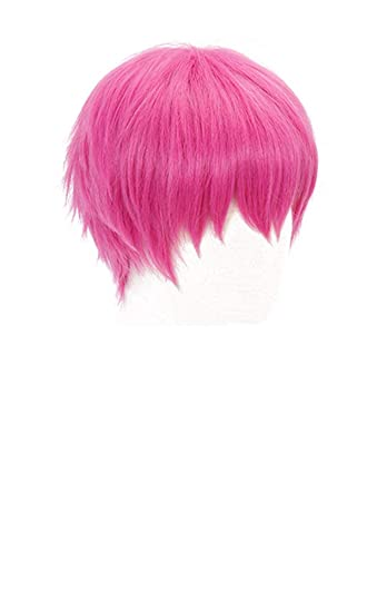PWEINCY Short Pink Saiki K Cosplay Wig with Bangs for Girls Women Halloween Costume Party