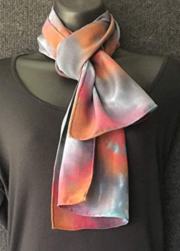 Hand Dyed Shibori Silk Crepe Scarf in Soft Rust and Terracotta