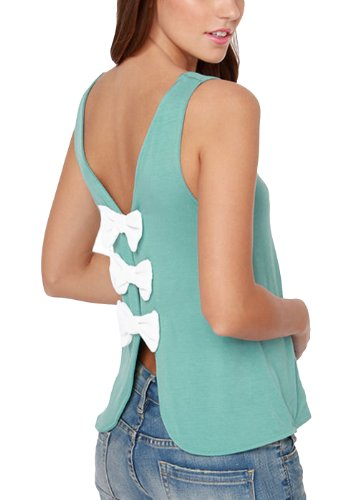 Womens Elegant Butterfly Knot Back Open Back Casual Tank Tops Green Small