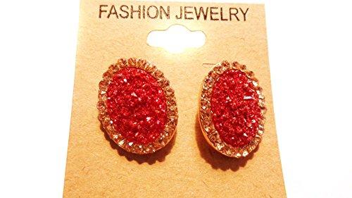 Red Crystal Earrings Encrusted Crystal Earrings 1 Inch Oval Earrings