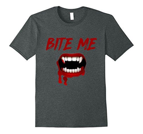 Mens Bite Me Halloween Vampire Teeth T Shirt XL Dark Heather (Halloween Bite)