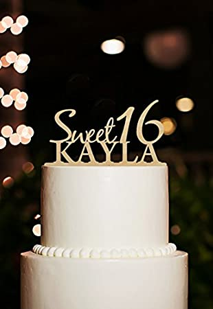 Happy Birthday Cake Topper Personalized Kids Name Sweet 16 Rustic
