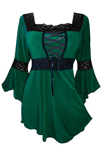 Dare to Wear Renaissance Corset Top: Victorian Gothic Boho Plus Size Women's Peasant Blouse for Everyday Halloween Cosplay Festivals, Envy 1x