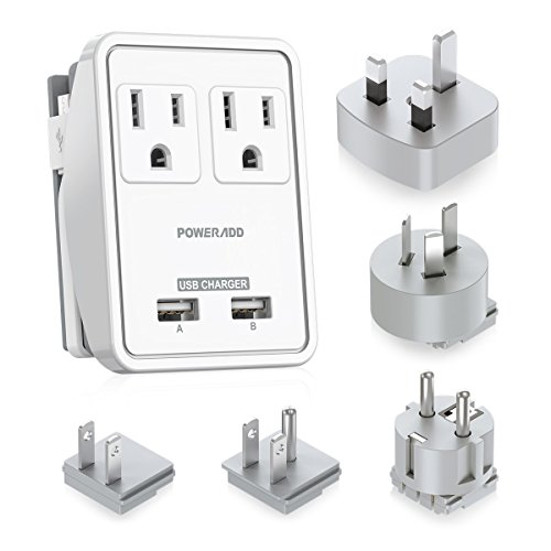 Equipment A/g Kit Connector - POWERADD Travel Adapter Kit - Dual USB Ports + 2 Outlets, Universal Adapters for UK, US,Japan,China, Europe& Asia, Perfect for Cellphone Laptop Camera and More - UL Listed