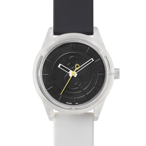 Q&Q SmileSolar Series Black Dial x Black/White Strap RP00J005Y Powered by Solar Polyurethane Round Watch