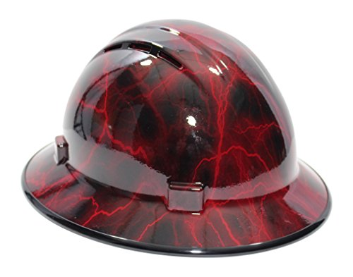 HardHatGear Custom Hydro Dipped VENTED Full Brim Hard Hat in 'Red Lightning' - Made in USA by ERB (Image #1)