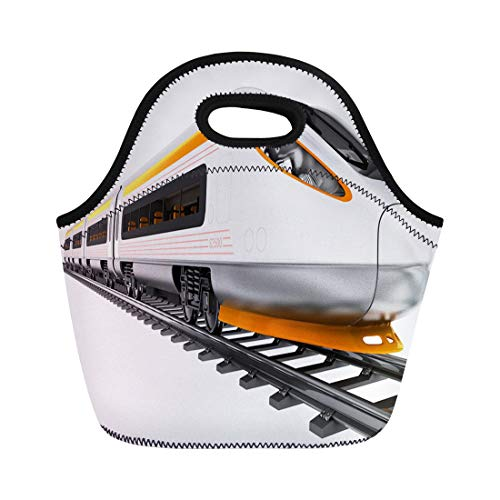 Semtomn Lunch Bags Metro Railway High Speed Train 3D White Fast Station Neoprene Lunch Bag Lunchbox Tote Bag Portable Picnic Bag Cooler Bag ()