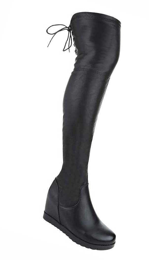 Damen Overknee Stiefel Schuhe Schwarz 36 37 38 39 40 41