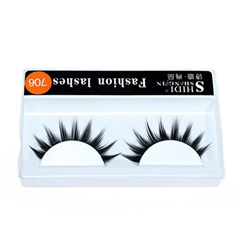 Makalon 1 Pairs Long Makeup Cross Thick False 3D Dense Eyelashes Eye Lashes Nautral (F) - Makeup For A Ladybug Costume