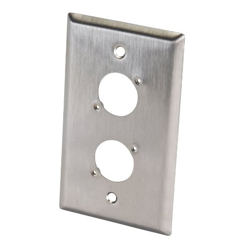 Switchcraft WP1S2P Single Gang Stainless Steel Metal Wall Plate 2 x EH Hole Stainless ()