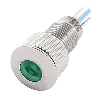 Signal LED Aço Verde Painel DC24V DealMux Mount inoxidável luz indicadora, 8 milímetros