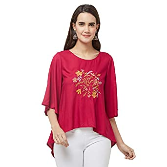 Fusion Beats Women Viscose Pink Embroidered Top
