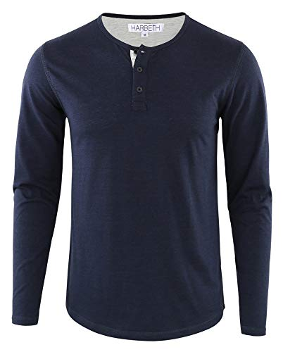 HARBETH Men's Regular Fit Long Sleeve Athletic Henley Shirt Active Jerseys Tee Navy/H.Oatmeal S