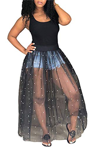 - Knight Horse Womens Sexy Beading Black Sheer Skirt Bodycon Clubwear Maxi Dress Medium