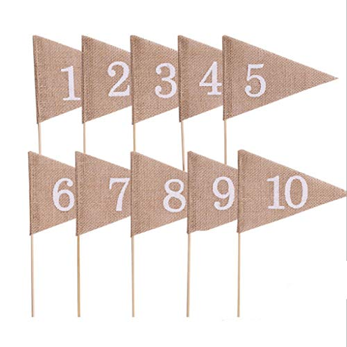 BROSCO Rustic Hessian Table Numbers 1-10 Burlap Wedding Party Table Signs Picks Set