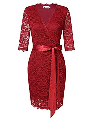 VeryAnn Womens Lace Business Cocktail Formal V Neck Wrap Dress with 3/4 Sleeves
