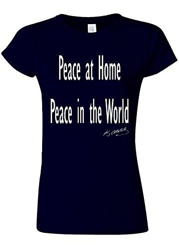 即席ジョブ単位Peace at Home Peace in the World Ataturk Quote Novelty Navy Women T Shirt Top-S
