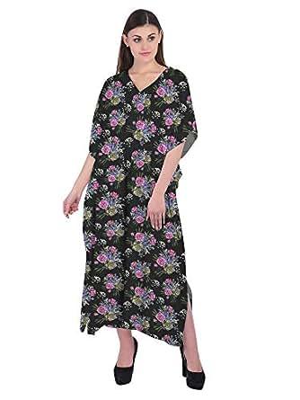 RADANYA Floral Printed Ladies Maxi 3/4 Kaftan Cotton Tunic Caftan Dress Black