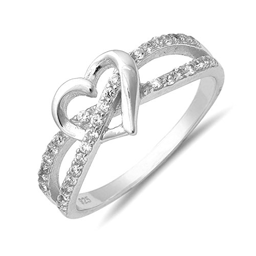 Infinity Twist Heart Clear Cubic Zirconia Sterling Silver Womens Promise Fashion Ring Sizes 4-10