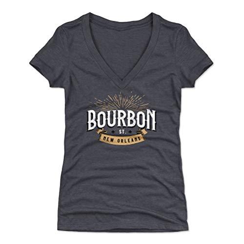 500 LEVEL New England Women's V-Neck Shirt - XX-Large Tri Navy - New Orleans Louisiana Bourbon Street Rise WHT ()