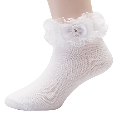 OLIVIA KOO Girl's Organza Multi Ruffle Top Anklet Socks,White,7-8 Years (Ruffle Organza Socks)