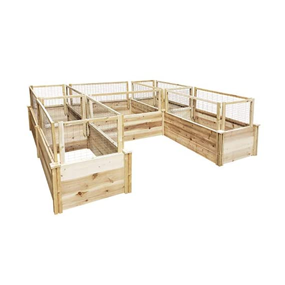 Greenes Fence Premium Cedar Raised Garden Bed U-Shaped Bed 2 GREENES PREMIUM RAISED GARDEN BED: Greenes Fence Premium line of cedar raised garden beds allows you to create an open-bottom frame to support your garden. Raised garden beds give your plants the room they need to grow in the location of your choice. Our cedar frame is left untreated, which means it is organic and safe to grow vegetables, herbs, and fruits in. PREMIUM LINE: With sanded boards that are thicker than our Value and Original lines, our Premium raised garden beds are an exceptional choice for all your growing needs. EASY TO SET UP: Greenes Fence raised garden beds use dovetail interlocking joints, which makes assembly a breeze. Each board slides into the corner posts without tools to form a secure open-bottom garden frame. Every corner post is routed on all four sides for easy assembly and expansion. The decorative tops can be added to each post using a screwdriver.
