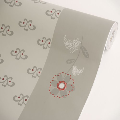 Oriental Floral Wallpaper (Floral Gray Border - Vinyl Self-Adhesive Wallpaper Prepasted Wall stickers Wall Decor (Roll))