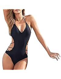 Traje de baño Bikini Hueco para Mujer Cimaybo, Correas Cruzadas sólidas Traje de baño Ropa de Playa Mono de una Pieza