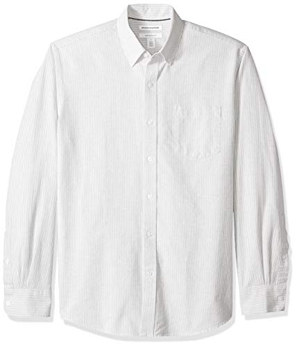 Amazon Essentials Men's Regular-Fit Long-Sleeve Stripe Pocket Oxford Shirt, Grey, Large