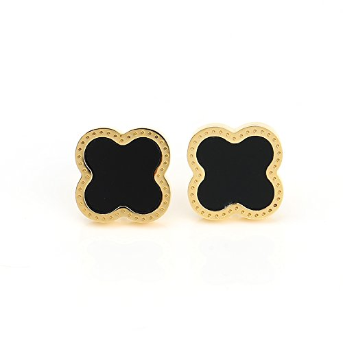 - Delicate Gold Tone Post Earrings with Contemporary Clover Design and Faux Onyx Inlay (160011)