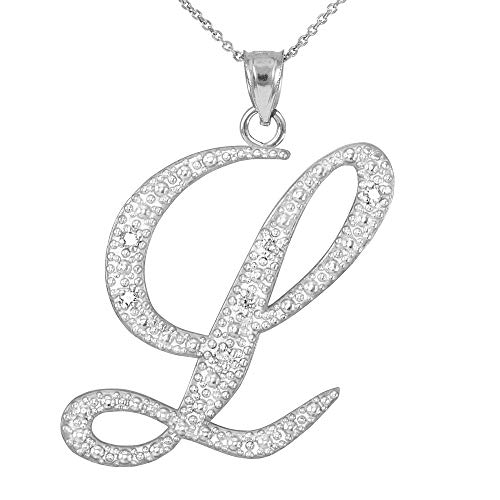 Fine 14k White Gold Diamond Script Letter L Initial Pendant Necklace ()