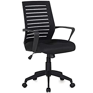 VECELO Premium Mesh Chair with 3D Surround Padded Seat Cushion for Task/Desk/Home Office Work Black by VECELO