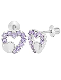 Rhodium Plated Purple Violet Small Heart Screw Back Earrings for Kids